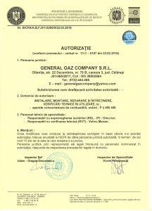 Autorizatie General Gaz Company