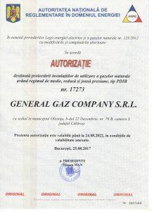 Autorizatie ANRE General Gaz Company 2017